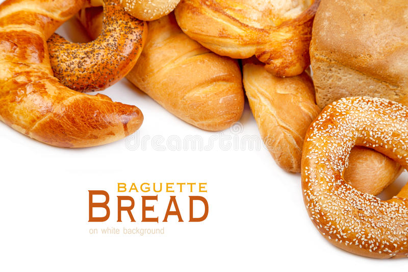 Bread, loaf, baguette, bagel on a white royalty free stock photos