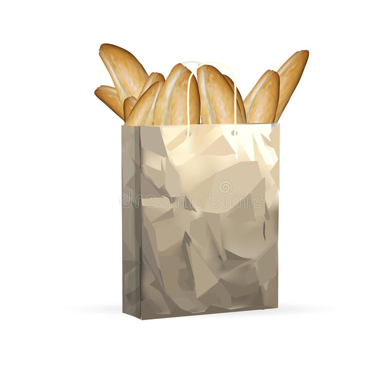 Bread, loaf, baguette, a grocery paper bag isolated object on a white background royalty free illustration