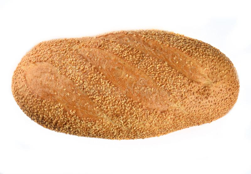 Bread loaf with sesame seeds isolated on white background. royalty free stock image