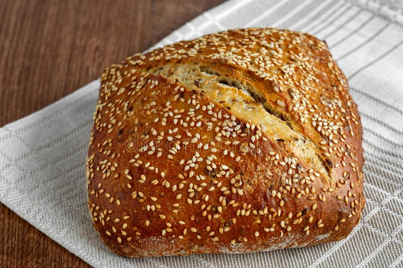 Bread loaf with sesame seeds royalty free stock image