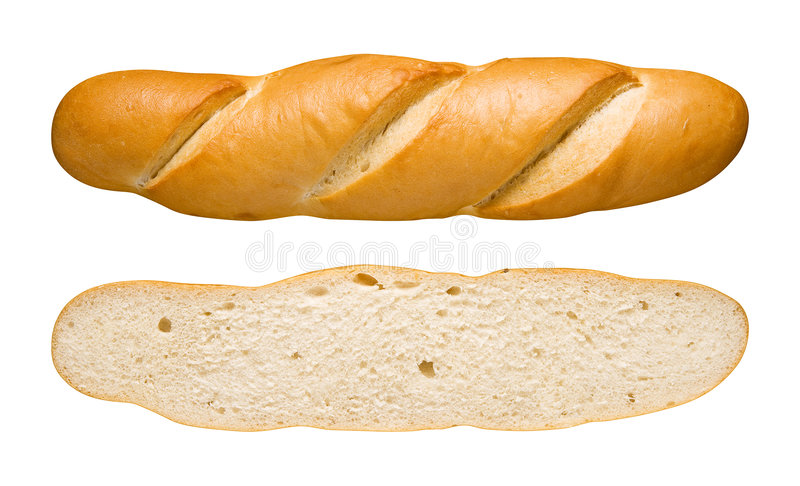 Bread Loaf & Slice (with clipping path). Bread Loaf isolated on a white background with a clipping path. Isolation is on a transparent layer in the PNG format stock images