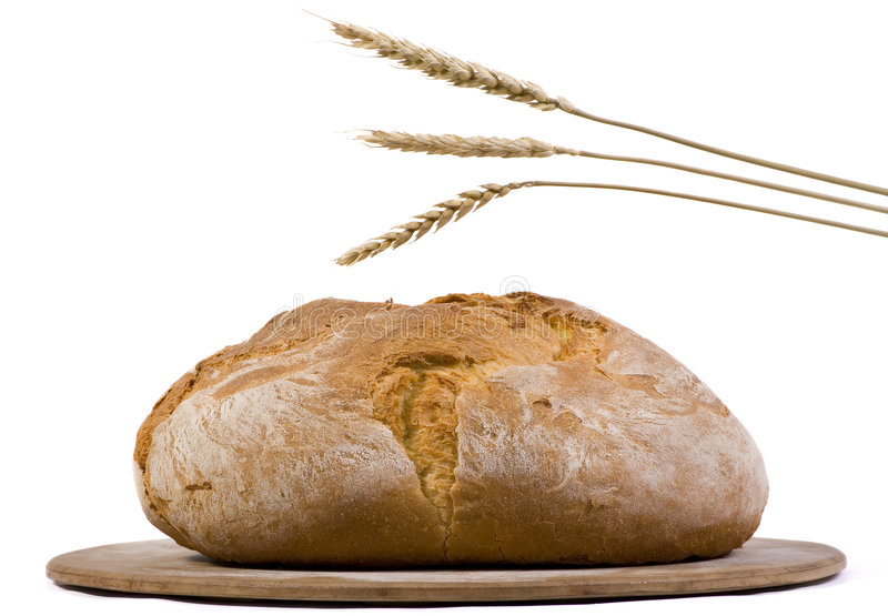 Bread Loaf with wheat isolated 2 stock images
