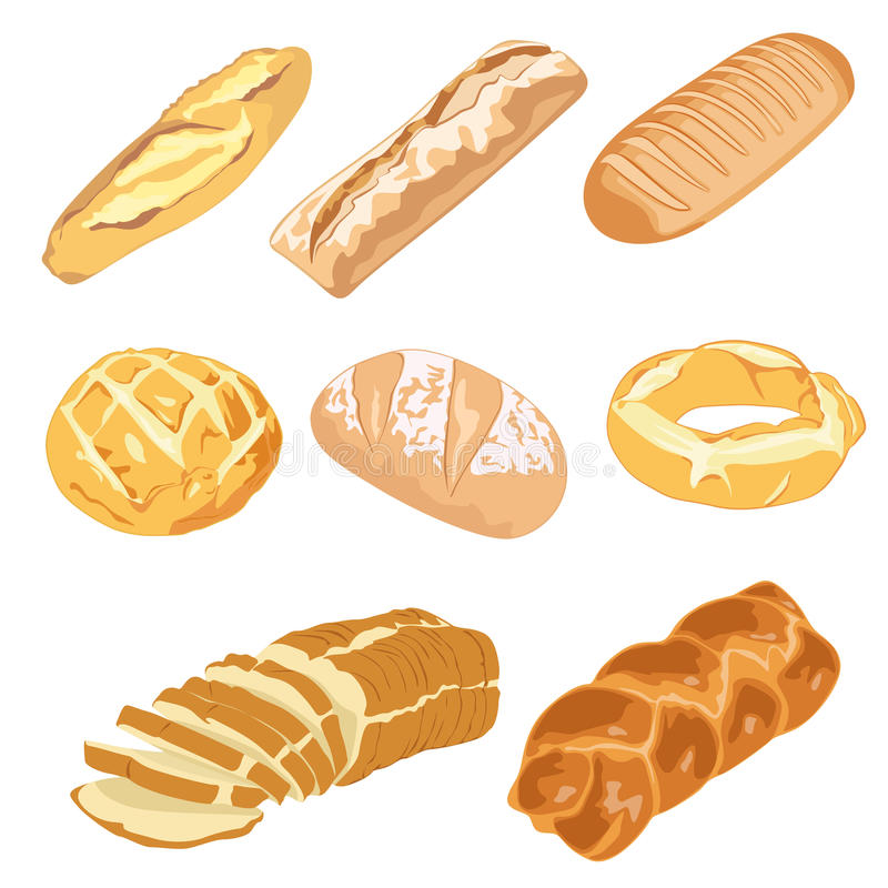 Bread Loaves And Bagels Stock Photos