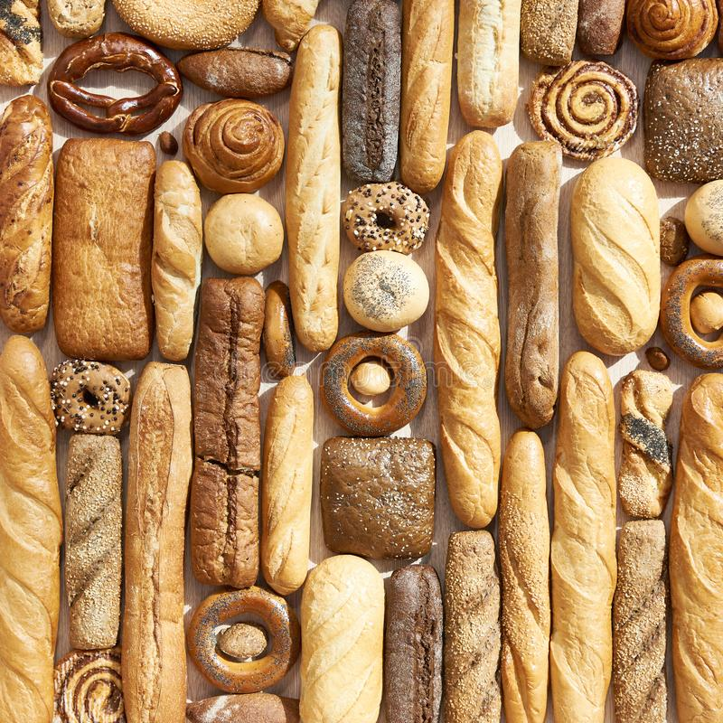 Bread loaves, buns and pastries royalty free stock photo