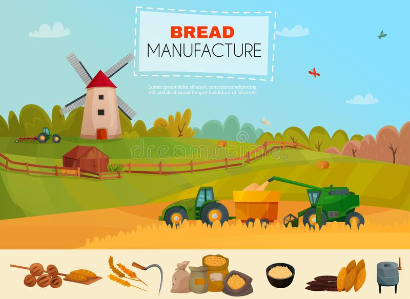 Bread Manufacture Poster royalty free illustration