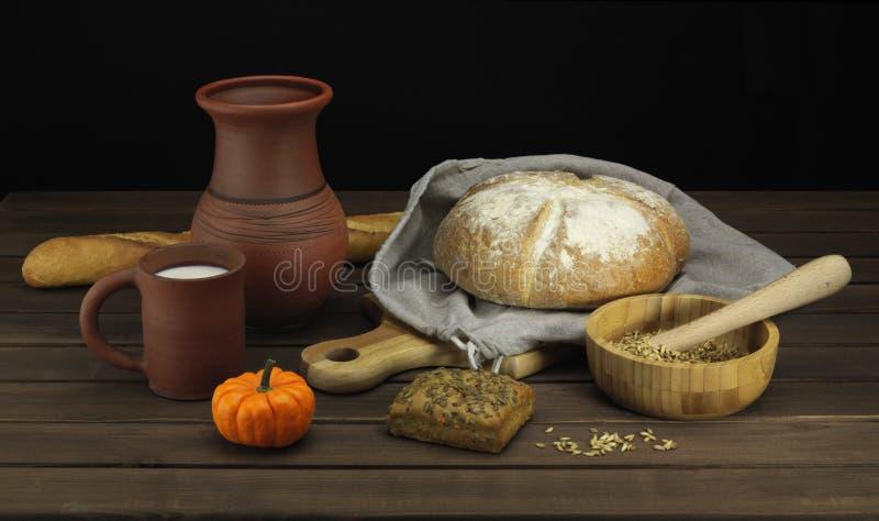 Bread with milk stock photos