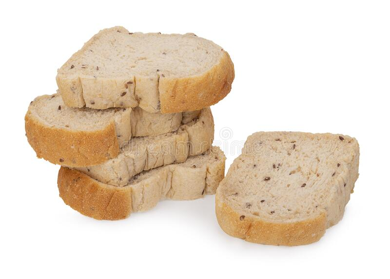 Bread mixed with sliced grains, isolated on white background stock photo