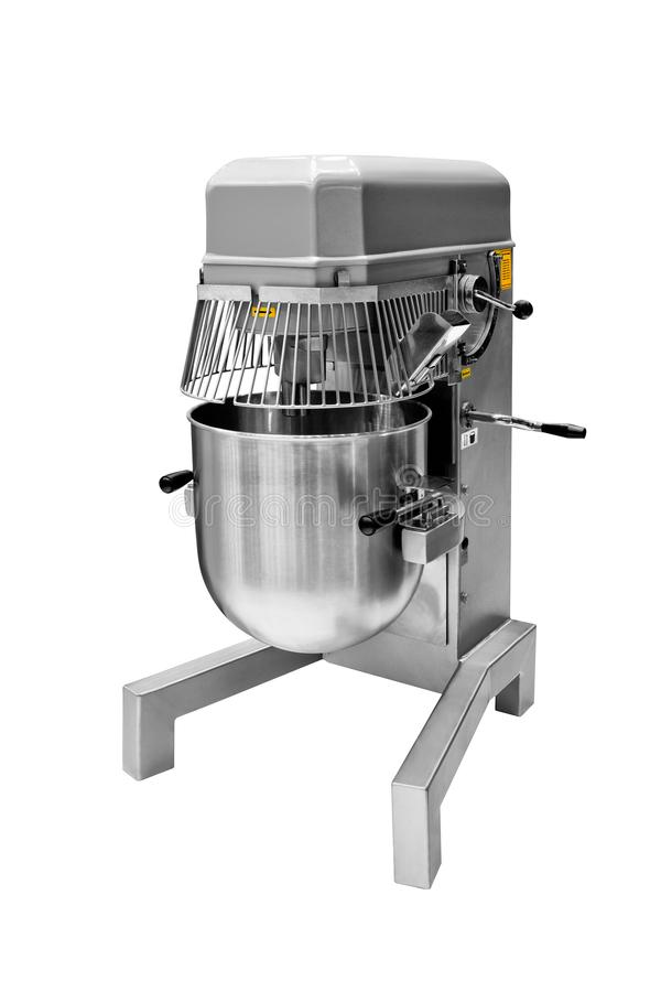 Bread Mixer In Bakery, mixing dough for baguettes in a bakery machine for mixing dough royalty free stock photography