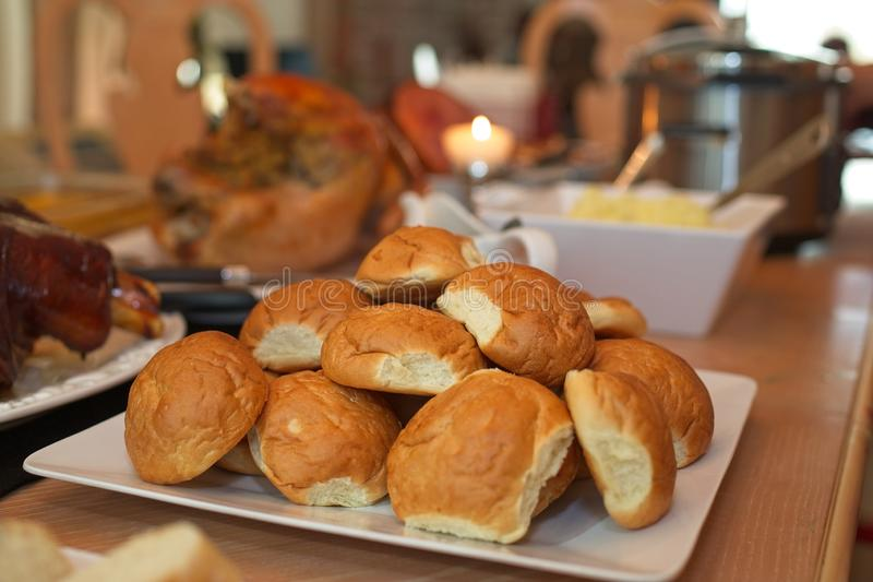 Bread and more food for Thanksgiving Dinner. royalty free stock photos