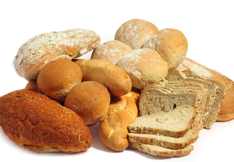 Bread over white stock image