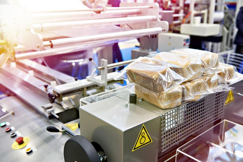 Bread packaging machine stock image