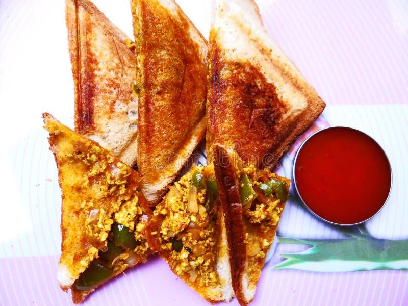 Bread paneer sandwich stock photography