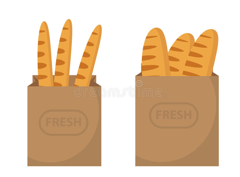 Bread in a paper bag. Loaf, Baguette in the papers package. Vector illustration, clip art. royalty free illustration
