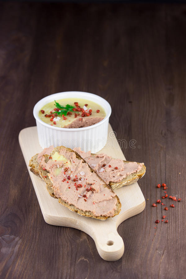 Bread with pate stock images