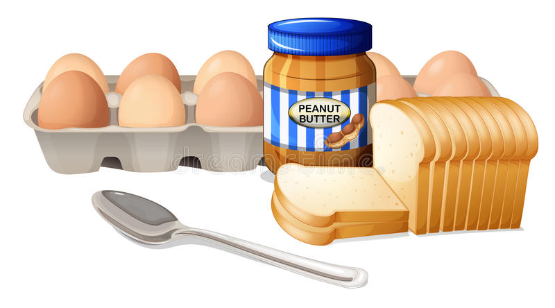 A bread with peanut butter and eggs. Illustration of a bread with peanut butter and eggs on a white background royalty free illustration