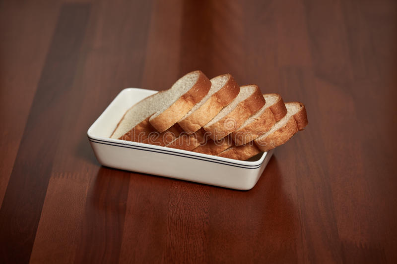 Bread on plate royalty free stock image