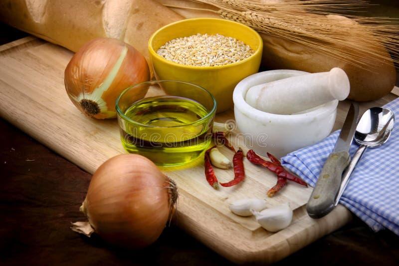 Bread preparation ingrediants stock images
