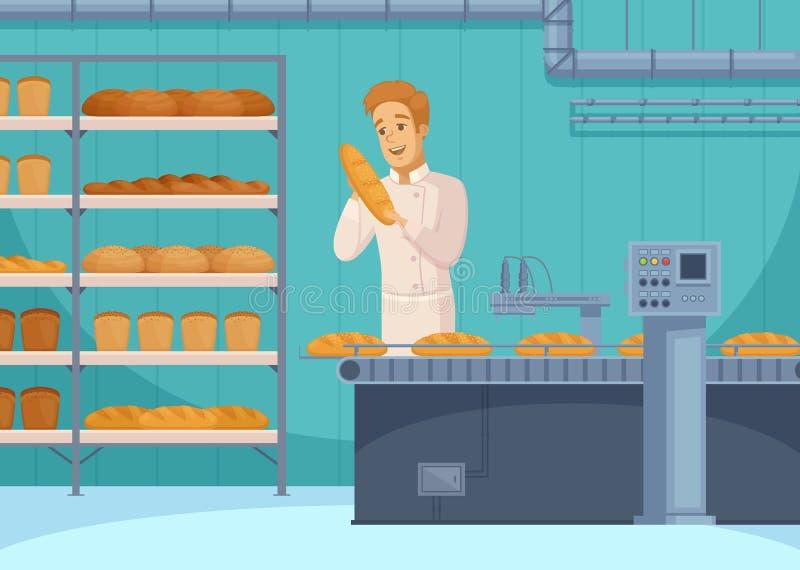 Bread Production Cartoon Composition royalty free illustration