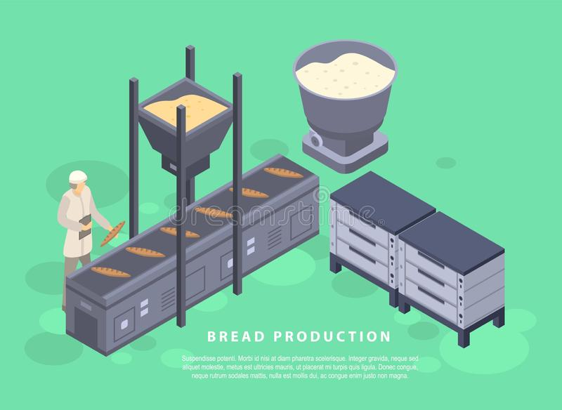 Bread production concept banner, isometric style royalty free illustration