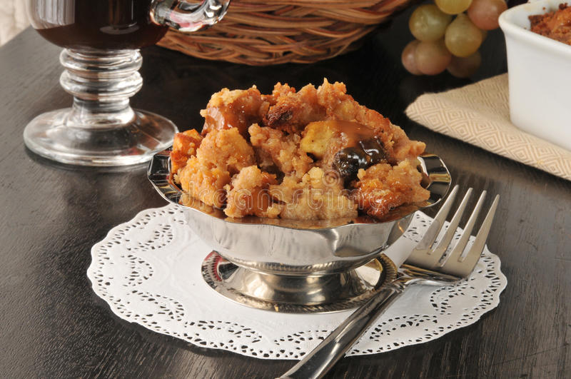 Bread pudding with caramel sauce royalty free stock photography