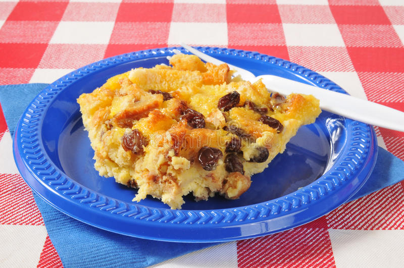 Bread pudding. A picnic plate of bread pudding royalty free stock image