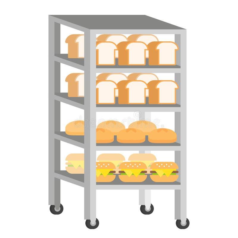 Bread rack with freshly baked bread vector Illustration flat design.  stock illustration