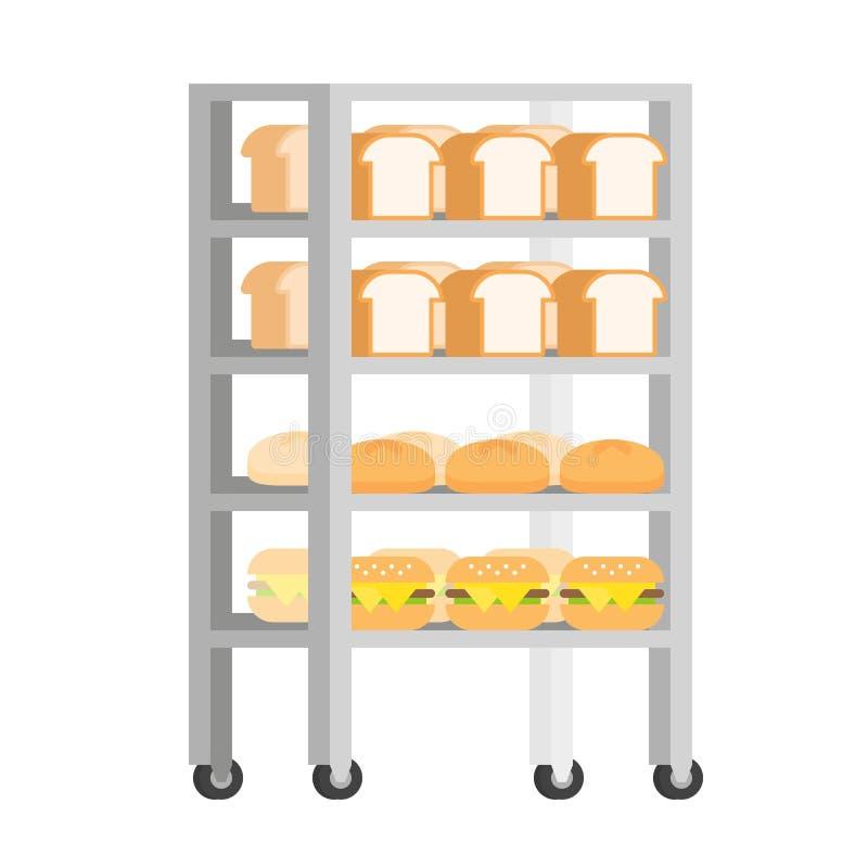 Bread rack with freshly baked bread vector Illustration flat design.  vector illustration