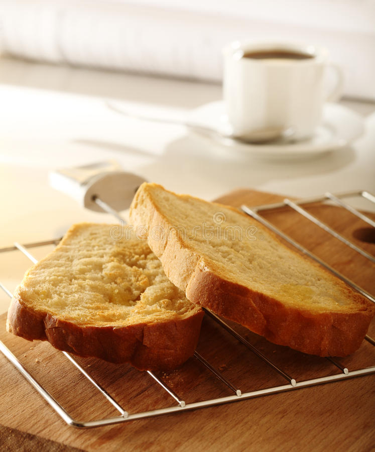 Bread roasted for breakfast royalty free stock image