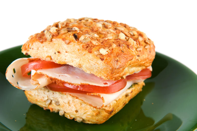 Bread Roll With Chicken And Tomatoes Royalty Free Stock Images