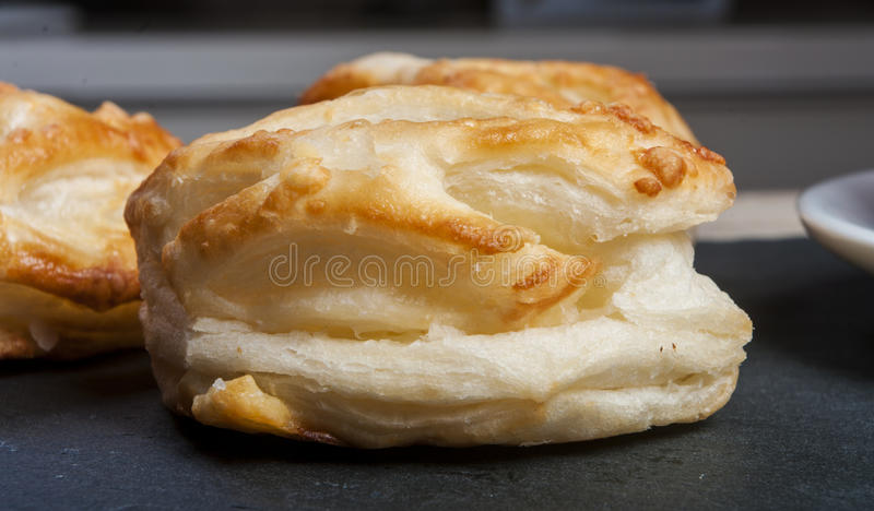 Bread Roll with cottage cheese filling and coffe. Close up royalty free stock photo