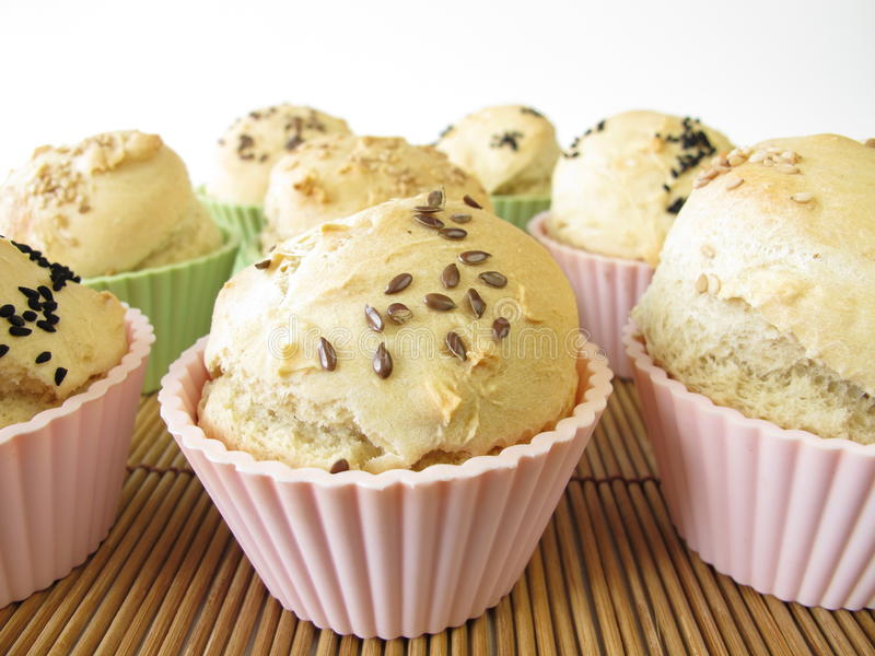 Download Bread roll muffins stock photo. Image of tins, seeds - 24616674