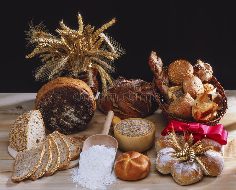 Bread and rolls stock photography