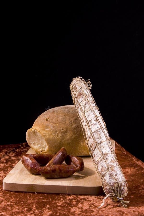Bread and salami royalty free stock photos