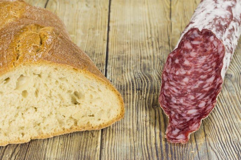 bread and salchichon royalty free stock photos