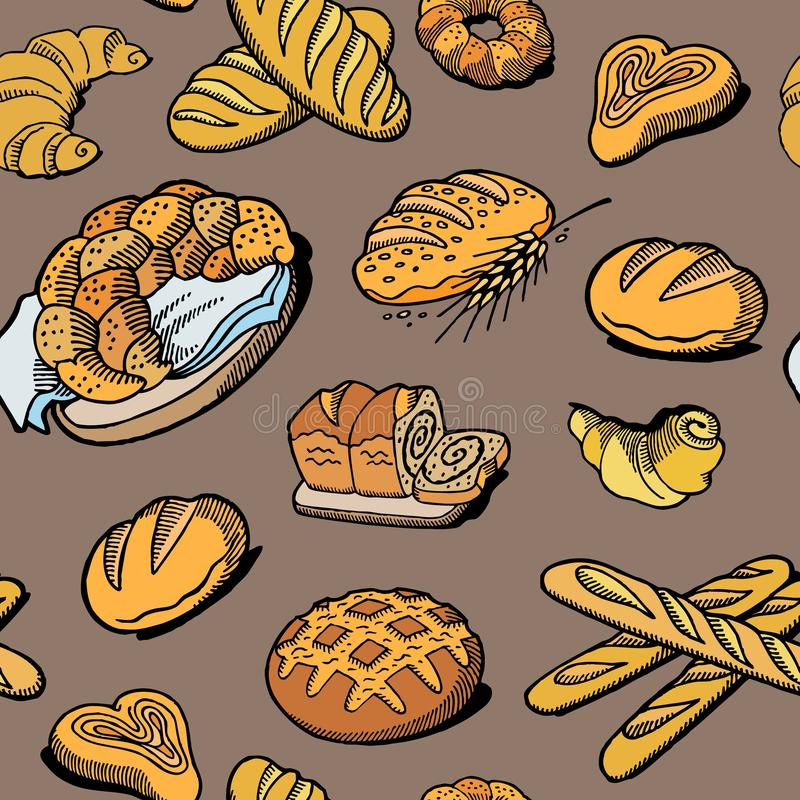 Bread seamless pattern. Vector drawing. Bakery product colored sketch background. Vintage food illustration for bakeshop vector illustration