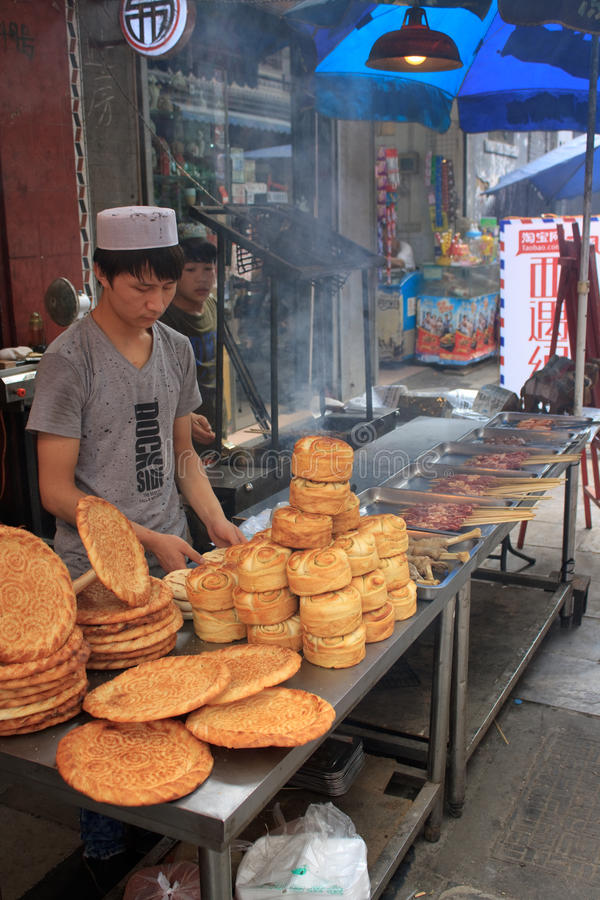 Download Bread seller in Xi'an editorial stock image. Image of bake - 26416954
