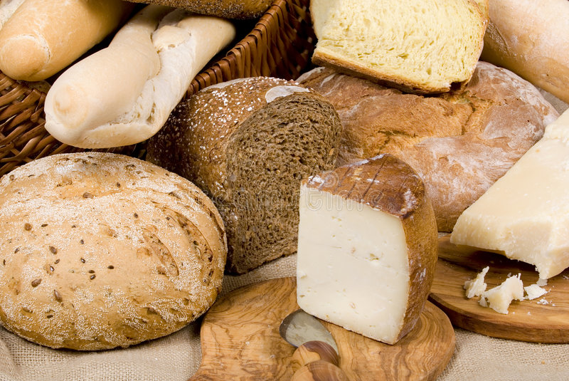 Bread Series (whole grain with cheese) stock photos