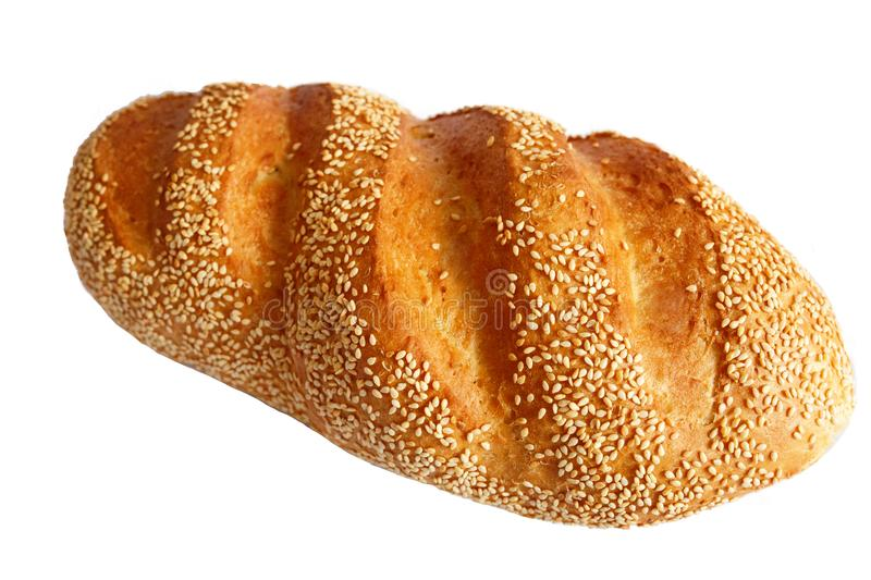 Bread with sesame seeds. Isolated. royalty free stock photos