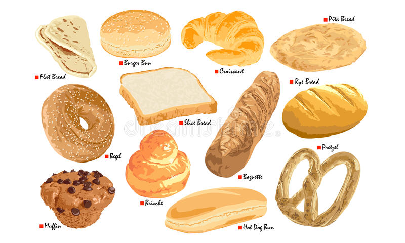 Bread Set. On a white Background vector illustration