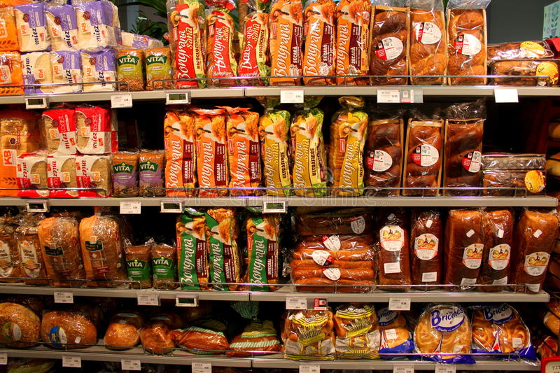 Bread on the shelves royalty free stock photos