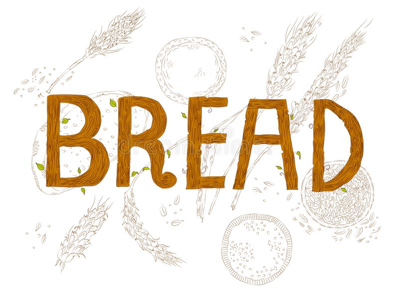 Bread sign with wheat. Vector hand drawn sketchy wooden Bread sign augmented with wheat production behind it. Food, bakery theme, image for interior design stock illustration