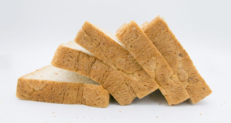 Bread slice isolated on white royalty free stock image