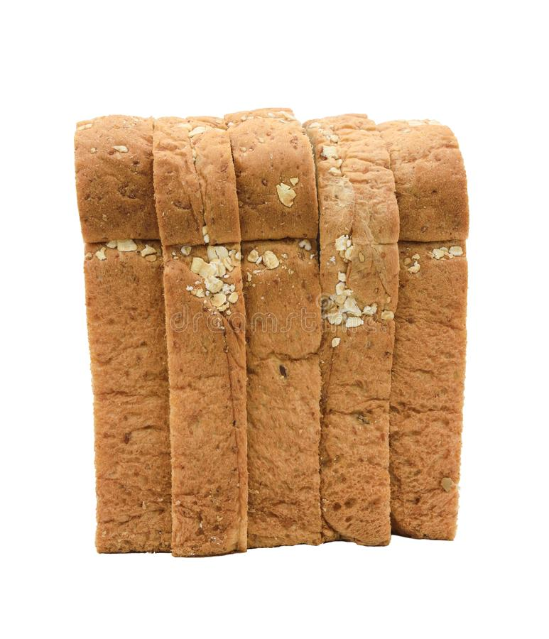 Bread slice isolated on white stock images
