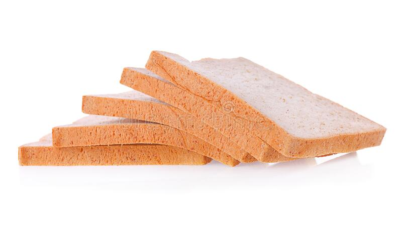 Bread slice isolated on white, clipping path included.  royalty free stock photography