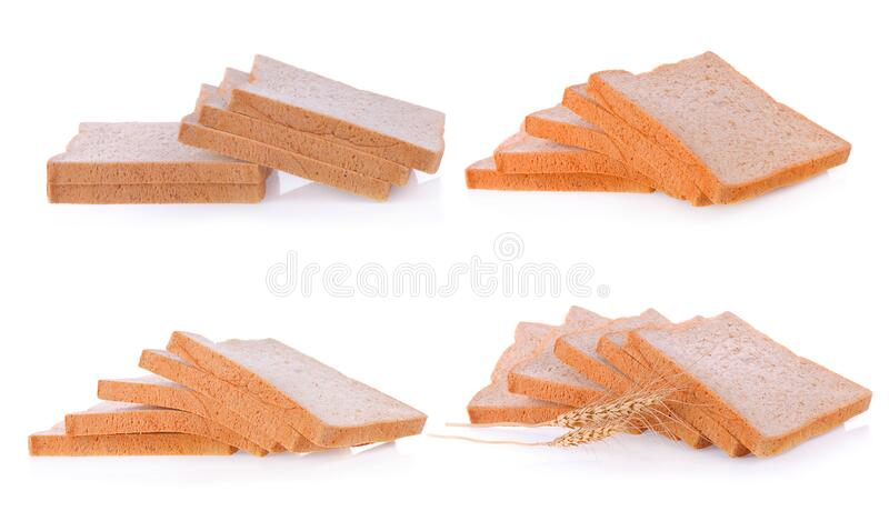 Bread slice isolated on white, clipping path included.  royalty free stock photos