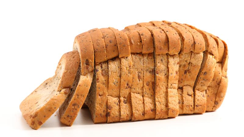 Bread sliced isolated on white royalty free stock photo