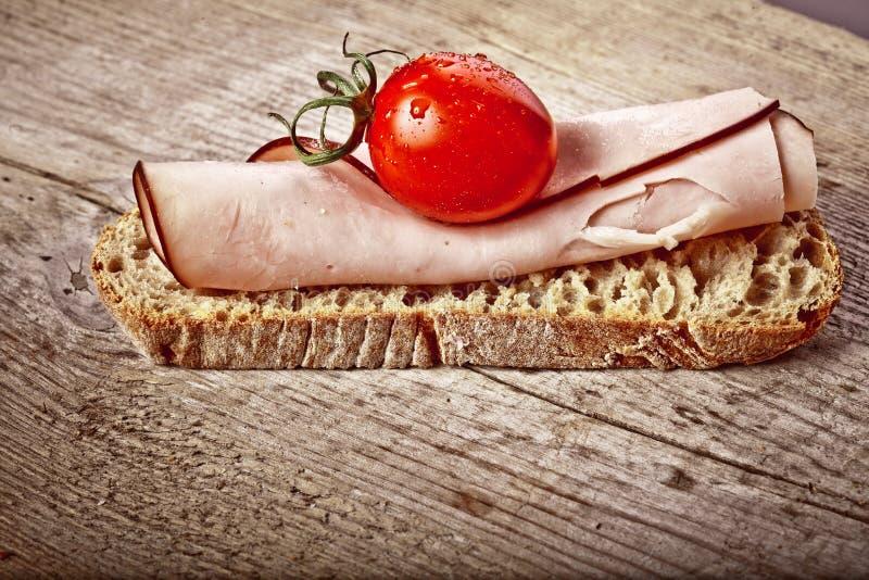 Download Bread with sliced pork ham stock image. Image of prosciutto - 33959387