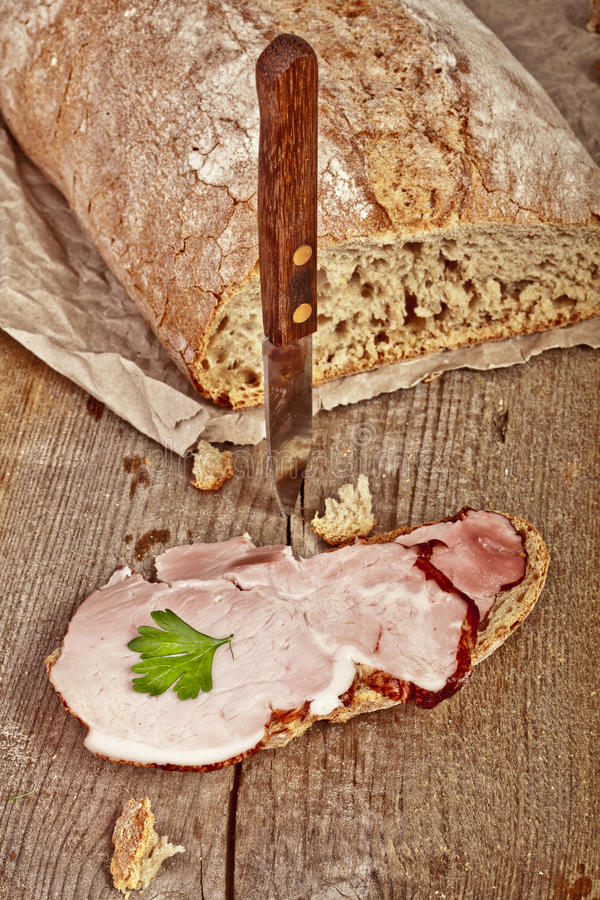 Download Bread With Sliced Pork Ham Royalty Free Stock Image - Image: 33971596
