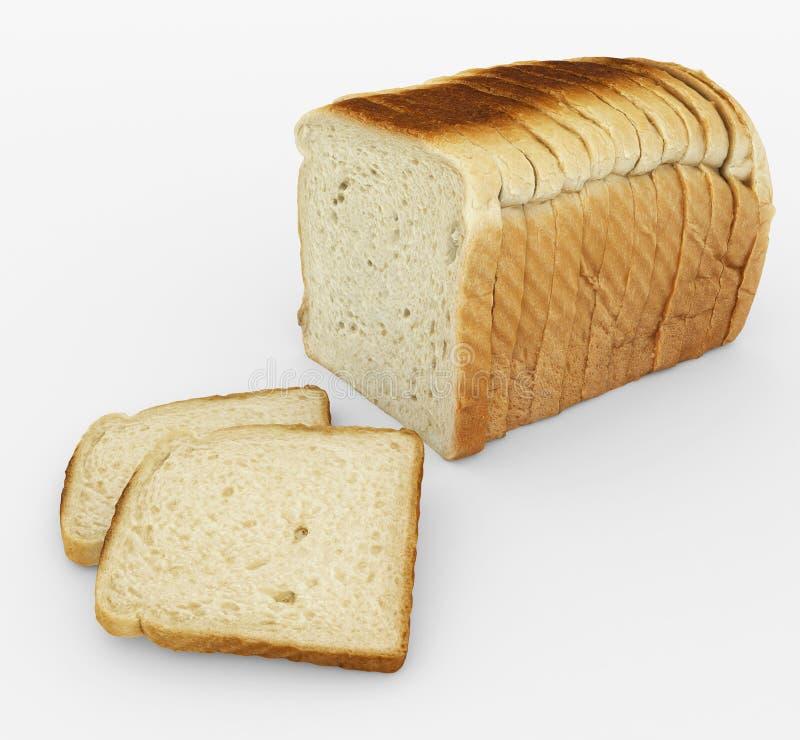 Bread sliced - toast - arrangement isolated on white stock illustration