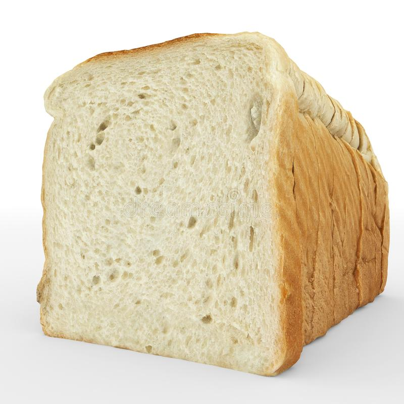 Bread sliced - toast slices put together on white vector illustration